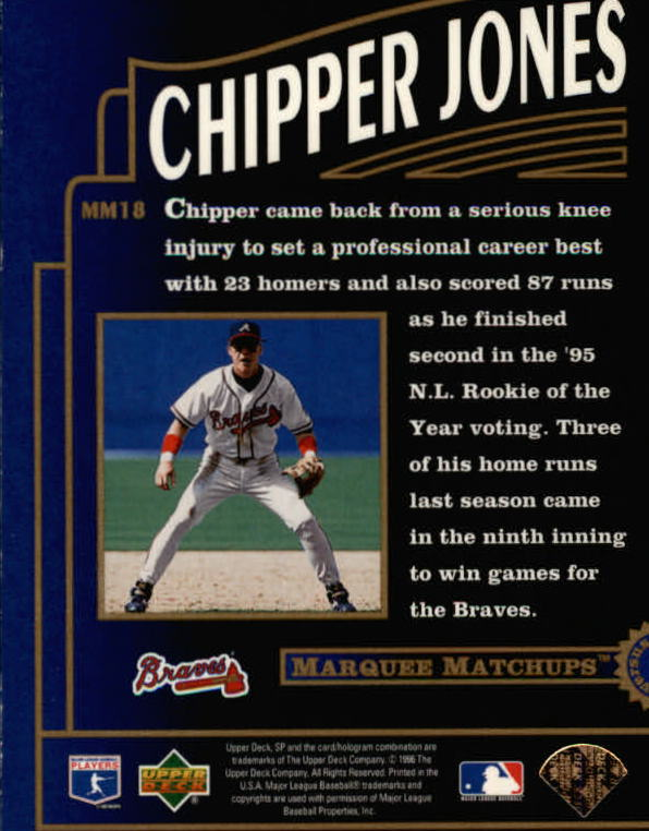 1996 SP Marquee Matchups #MM18 Chipper Jones
