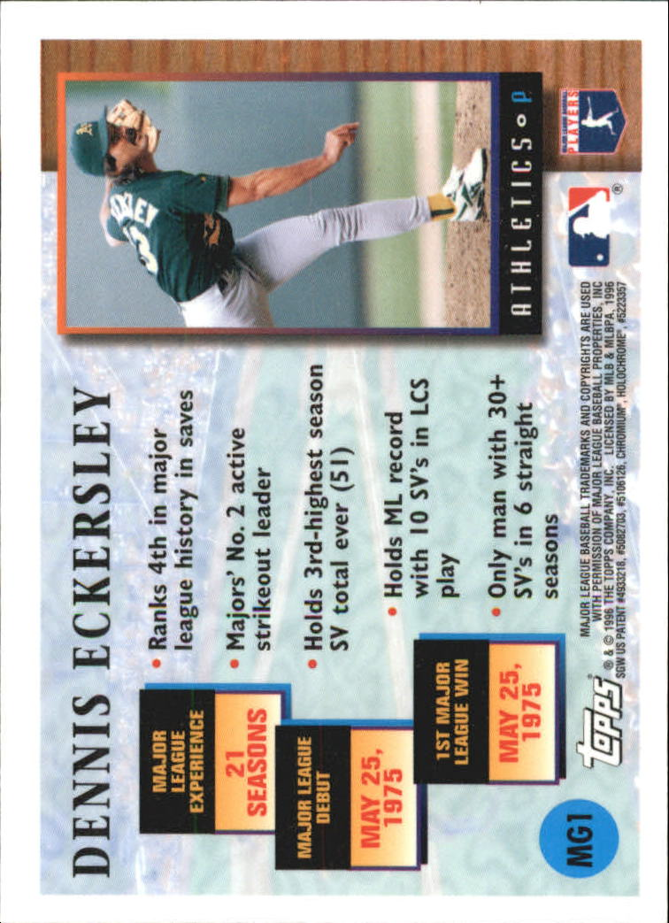 1996 Topps Chrome Masters of the Game #1 Dennis Eckersley back image