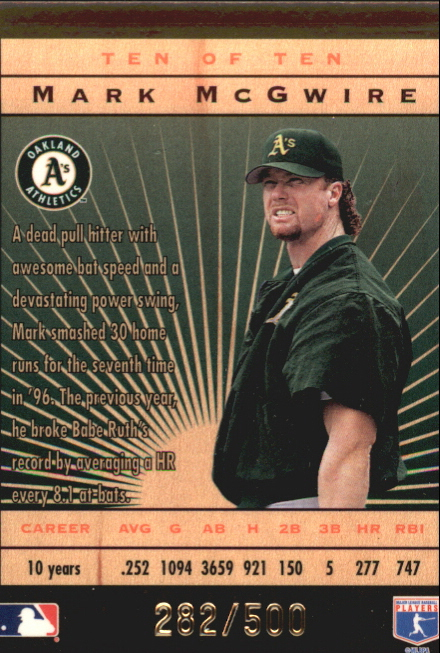 1996 Leaf Limited Lumberjacks Black #10 Mark McGwire back image