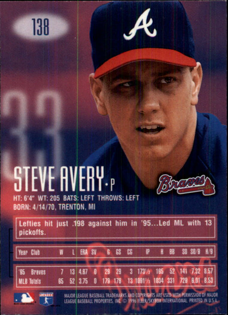 1996 Emotion-XL #138 Steve Avery back image