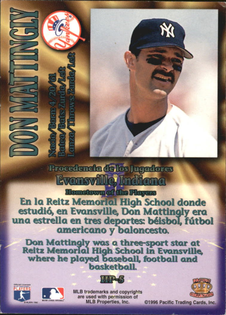 1996 Pacific Hometowns #HP5 Don Mattingly back image