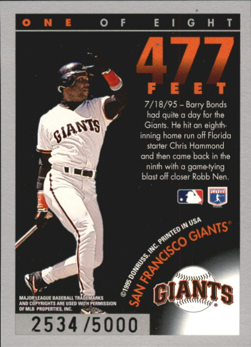 1996 Donruss Long Ball Leaders #1 Barry Bonds back image