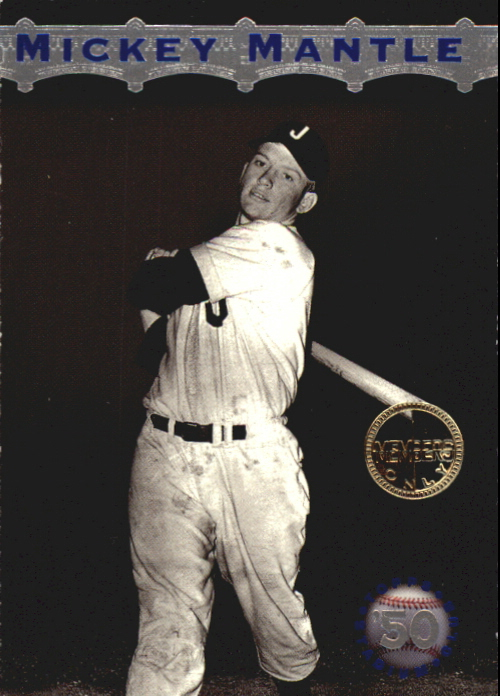 1996 Stadium Club Mantle #MM1 Mickey Mantle/Batting Follow Through, 1950 front image