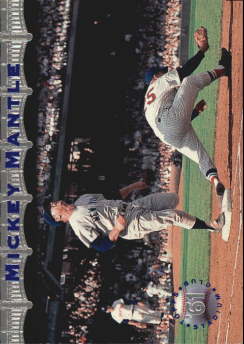 1996 Stadium Club Mantle #MM11 Mickey Mantle/Beating out hit, 1961