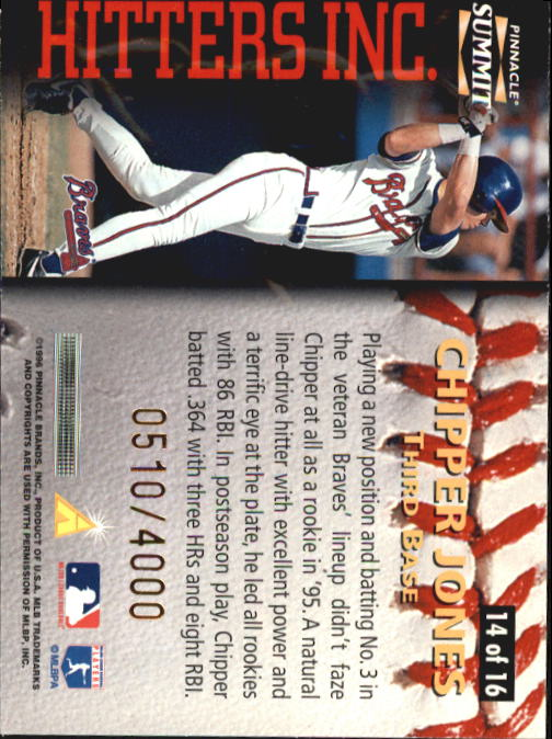 1996 Summit Hitters Inc. #14 Chipper Jones