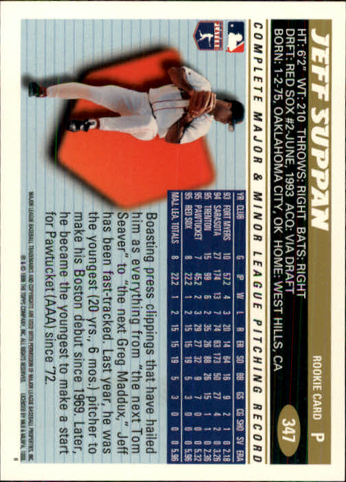 1996 Topps #347 Jeff Suppan back image
