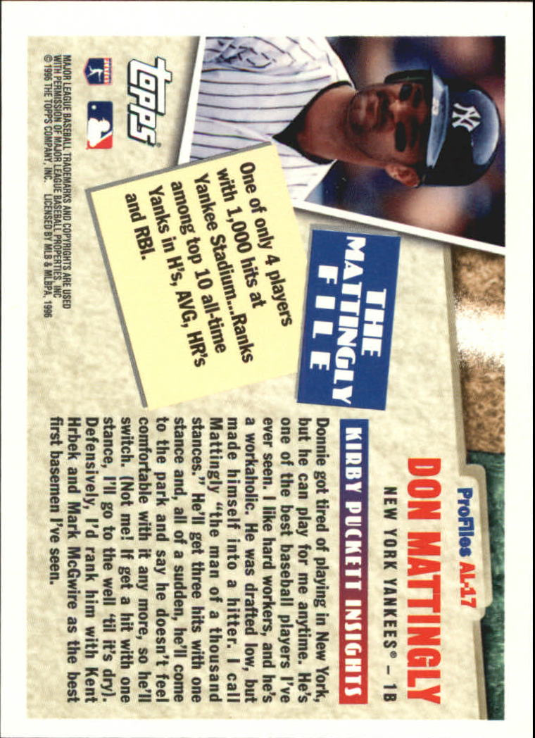 1996 Topps Profiles #AL17 Don Mattingly back image