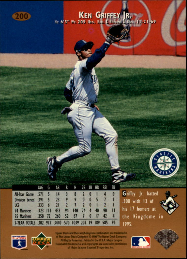 1996 Upper Deck #200 Ken Griffey Jr. back image