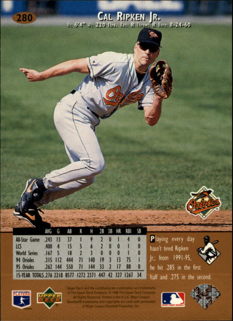 1996 Upper Deck #280 Cal Ripken back image