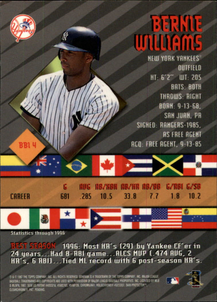 1997 Bowman International Best #BBI4 Bernie Williams back image