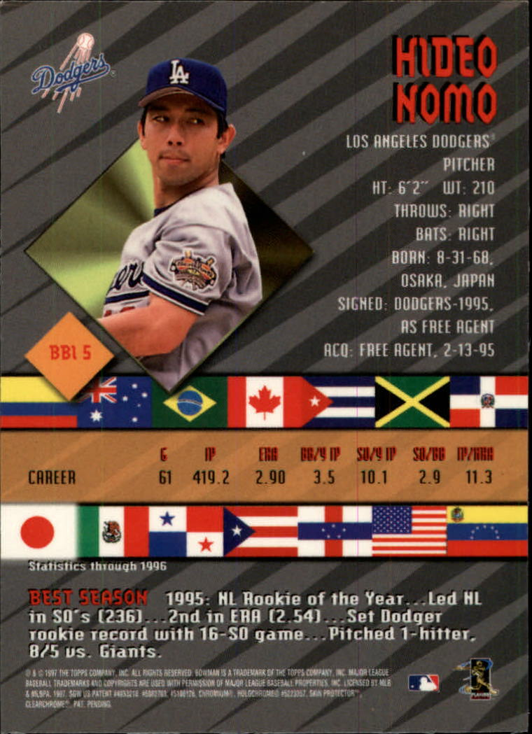 1997 Bowman International Best #BBI5 Hideo Nomo back image