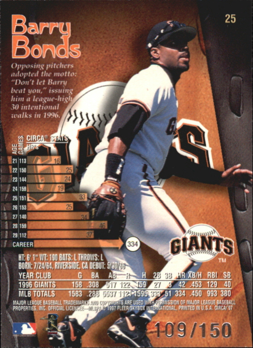 1997 Circa Rave #25 Barry Bonds back image