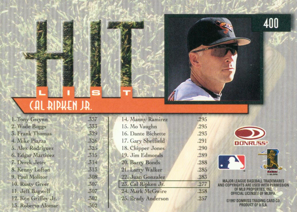1997 Donruss #400 Cal Ripken HIT back image