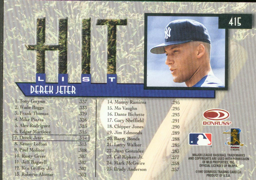 1997 Donruss #415 Derek Jeter HIT back image