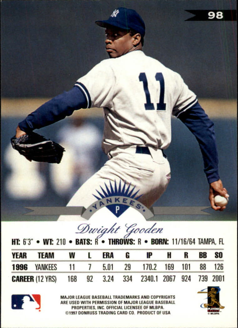 1997 Leaf #98 Dwight Gooden back image
