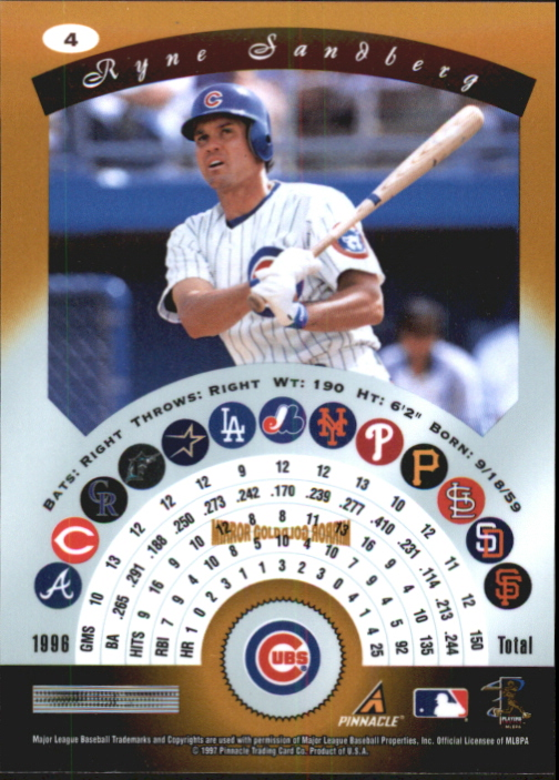 1997 Pinnacle Certified Mirror Gold #4 Ryne Sandberg