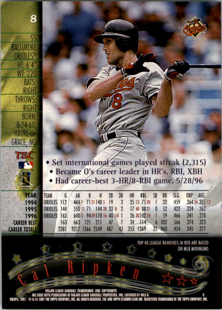 1997 Stadium Club #8 Cal Ripken back image