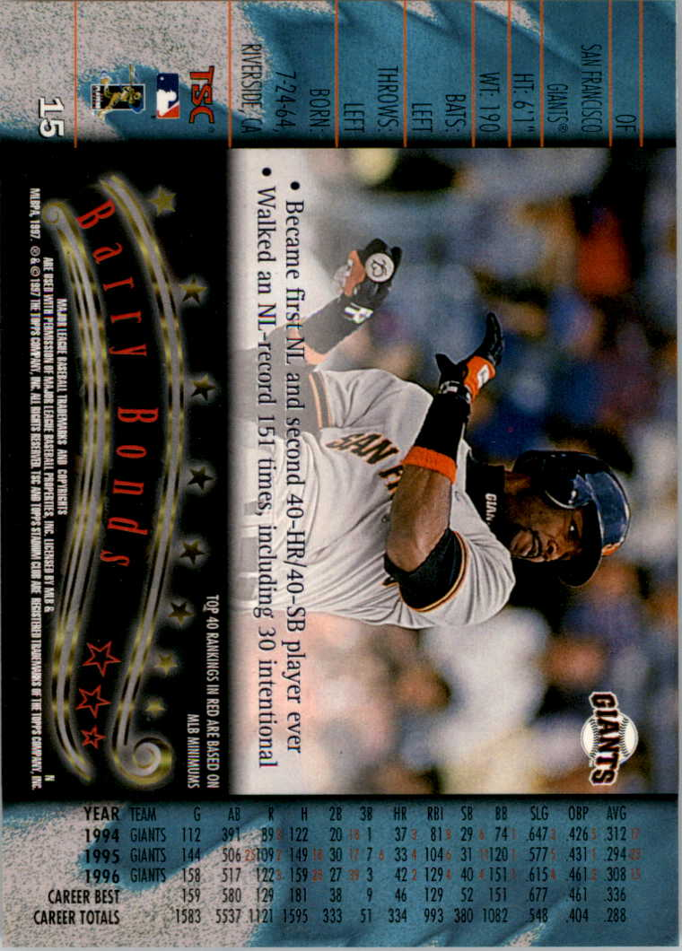 1997 Stadium Club #15 Barry Bonds back image