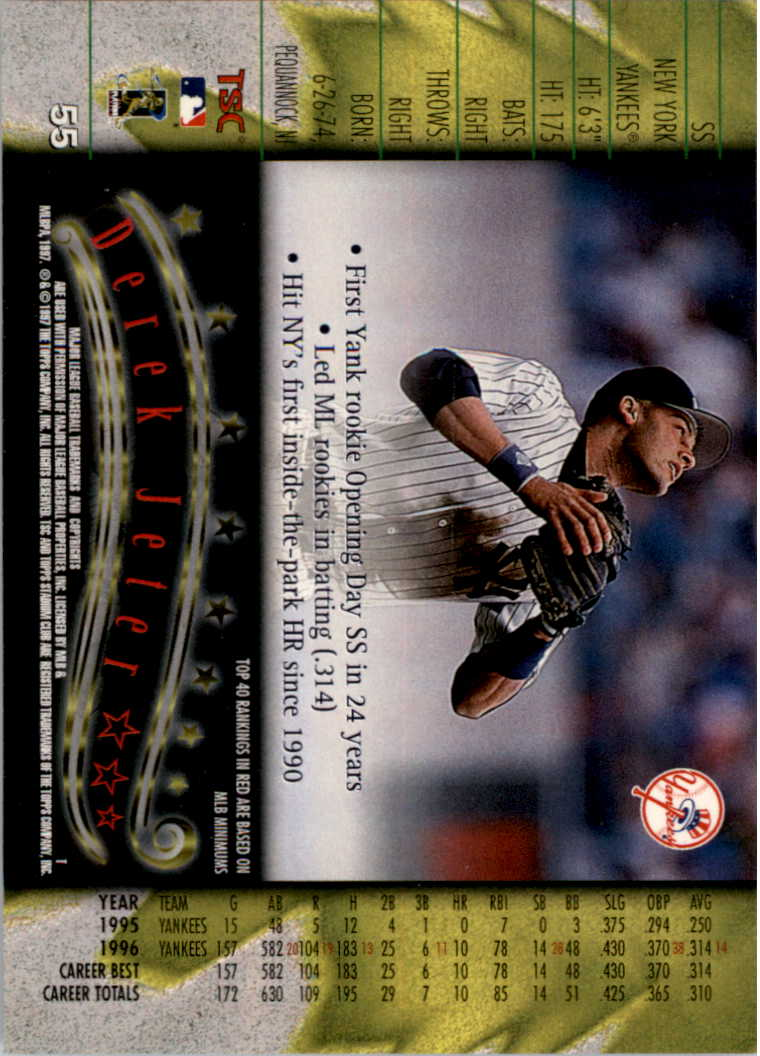 1997 Stadium Club #55 Derek Jeter back image