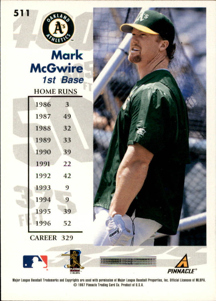 1997 Score #511 Mark McGwire GY back image