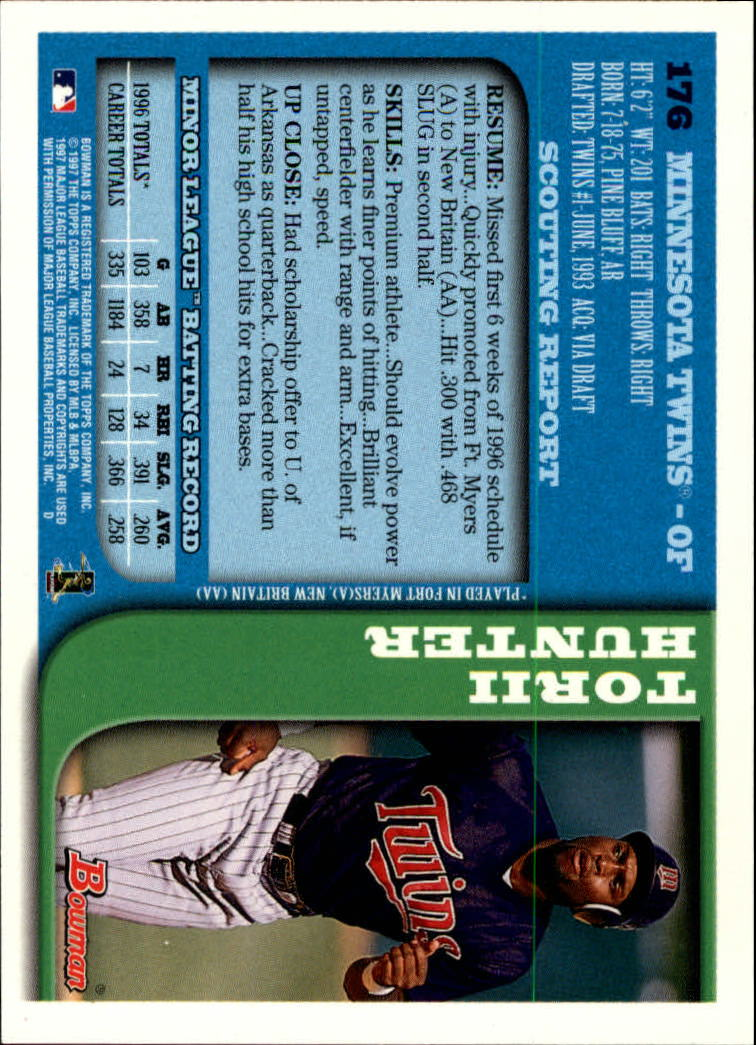 1997 Bowman #176 Torii Hunter back image