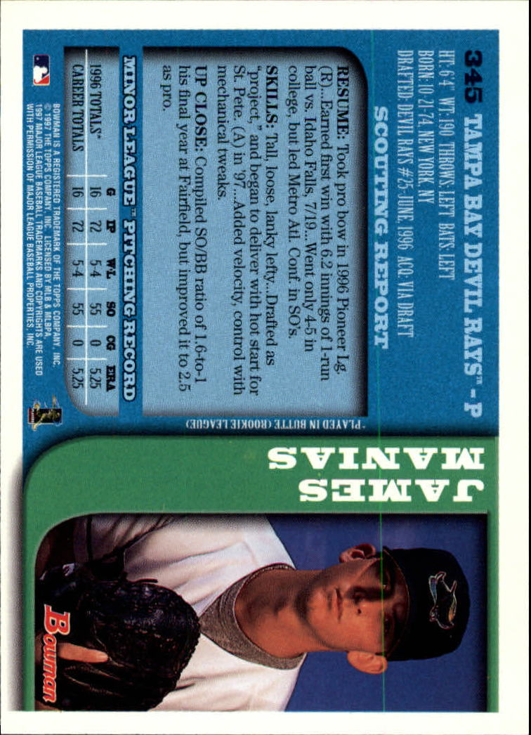 1997 Bowman #345 James Manias RC back image