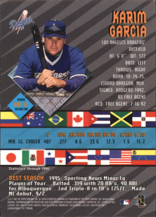 1997 Bowman International Best Atomic Refractor #BBI17 Karim Garcia