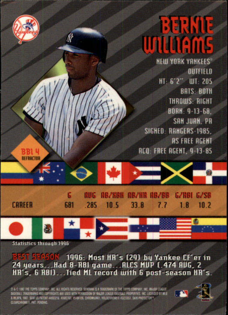 1997 Bowman International Best Refractor #BBI4 Bernie Williams