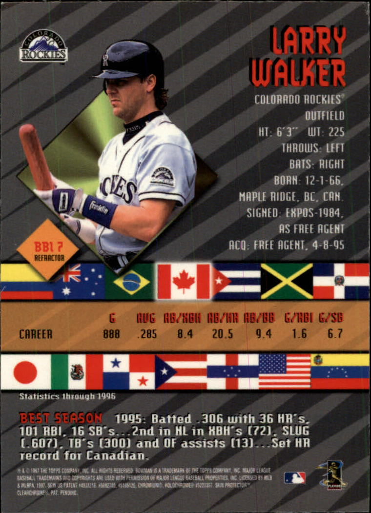 1997 Bowman International Best Refractor #BBI7 Larry Walker back image