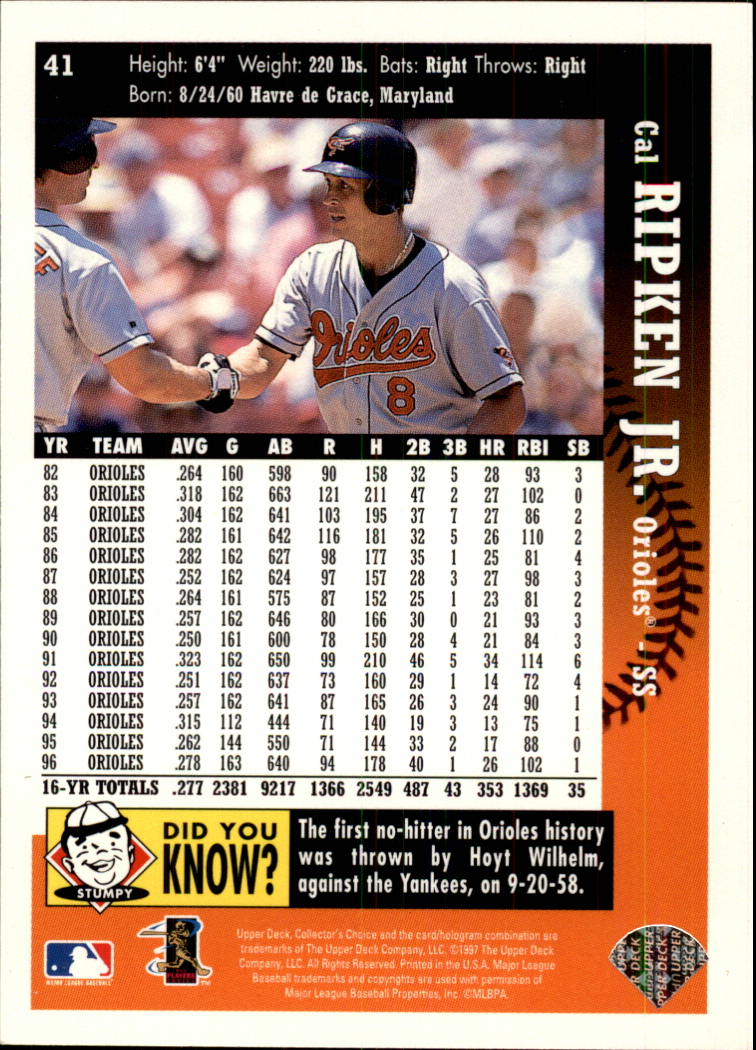 1997 Collector's Choice #41 Cal Ripken
