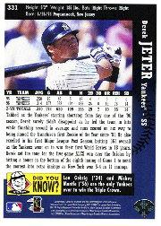1997 Collector's Choice #331 Derek Jeter GHL back image