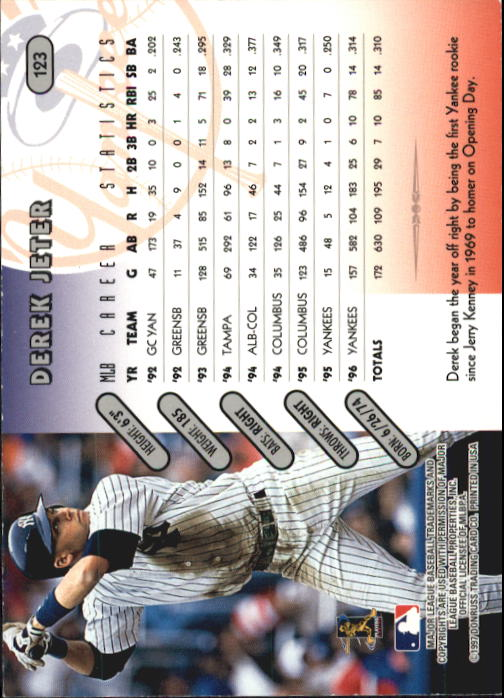 1997 Donruss Team Sets #123 Derek Jeter back image