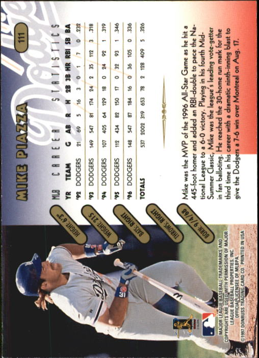 1997 Donruss Team Sets Pennant Edition #111 Mike Piazza back image