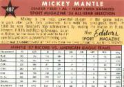 1997 Topps Mantle #25 Mickey Mantle/1958 Topps AS back image
