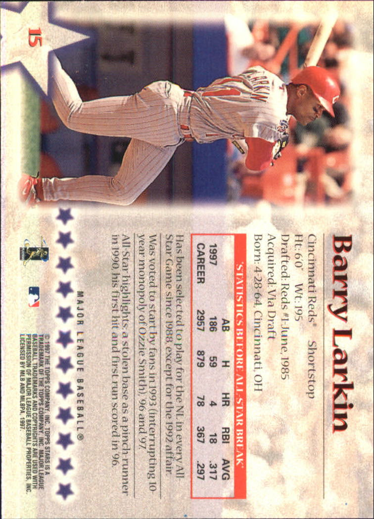 1997 Topps Stars #15 Barry Larkin back image