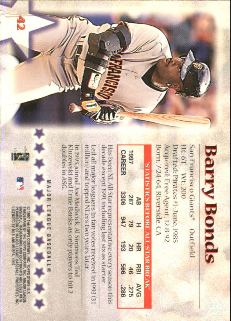 1997 Topps Stars #42 Barry Bonds back image
