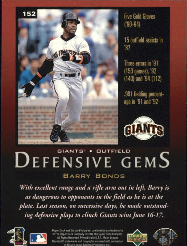 1997 Upper Deck #152 Barry Bonds DG back image