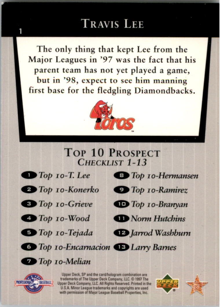1998 SP Top Prospects #1 Travis Lee T10 back image