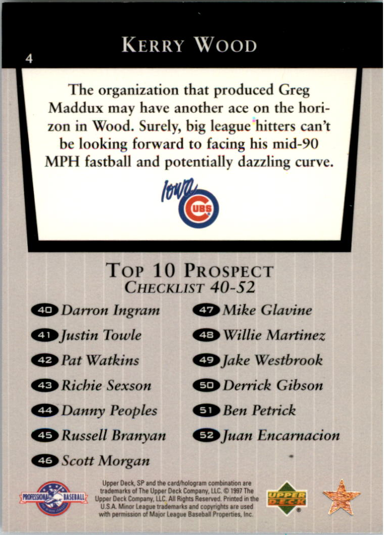 1998 SP Top Prospects #4 Kerry Wood T10 back image