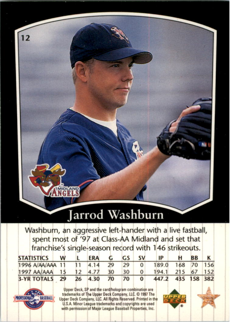 1998 SP Top Prospects #12 Jarrod Washburn back image