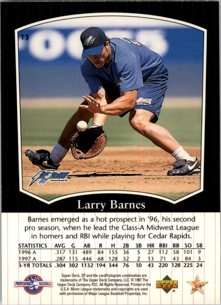 1998 SP Top Prospects #13 Larry Barnes back image