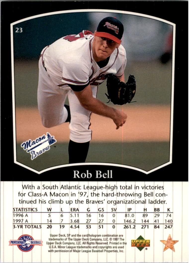 1998 SP Top Prospects #23 Rob Bell back image