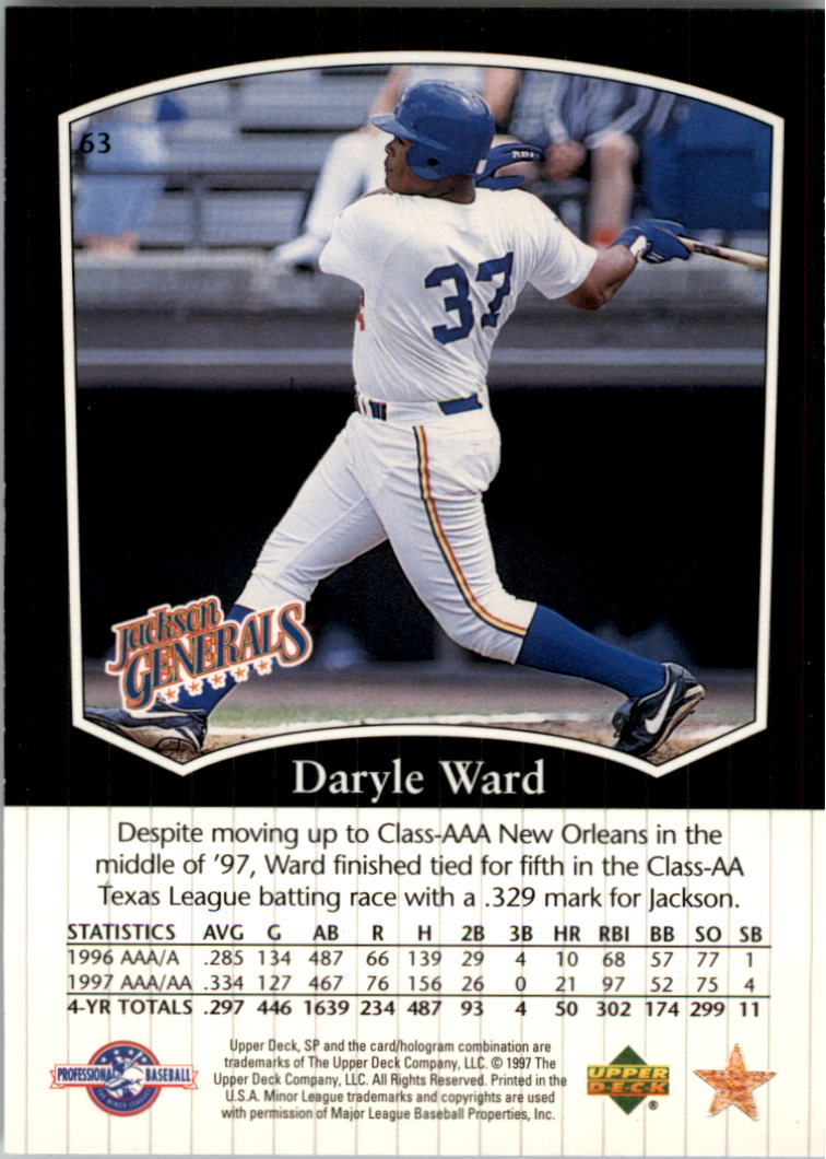 1998 SP Top Prospects #63 Daryle Ward back image