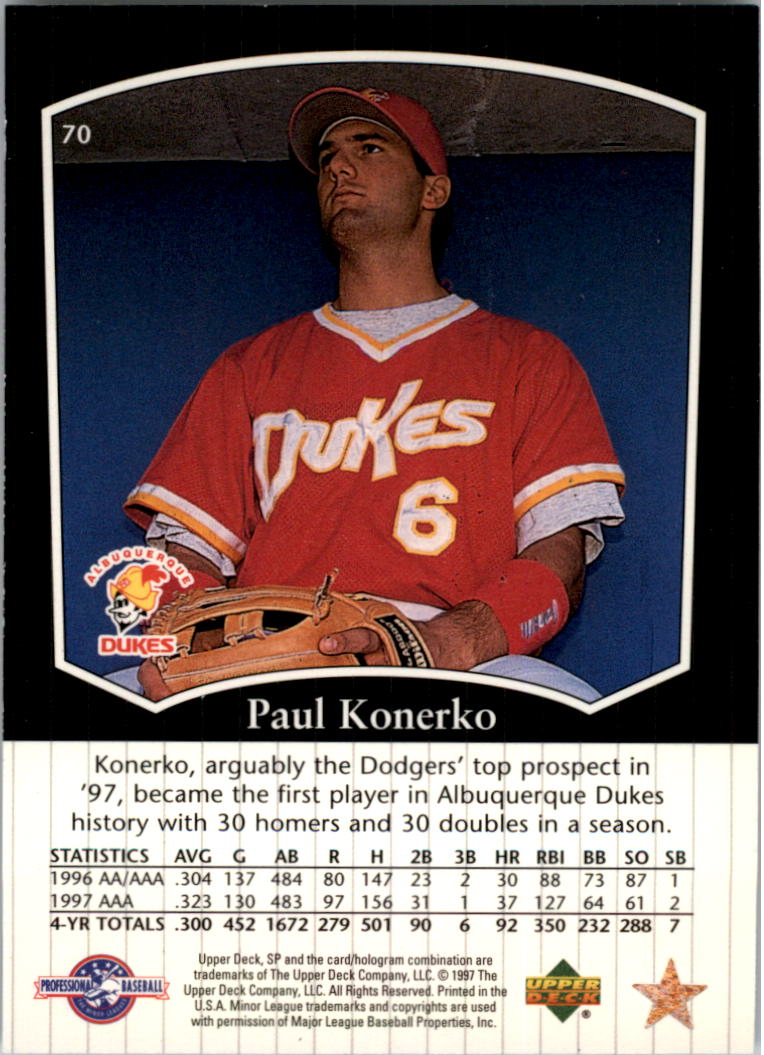 1998 SP Top Prospects #70 Paul Konerko back image