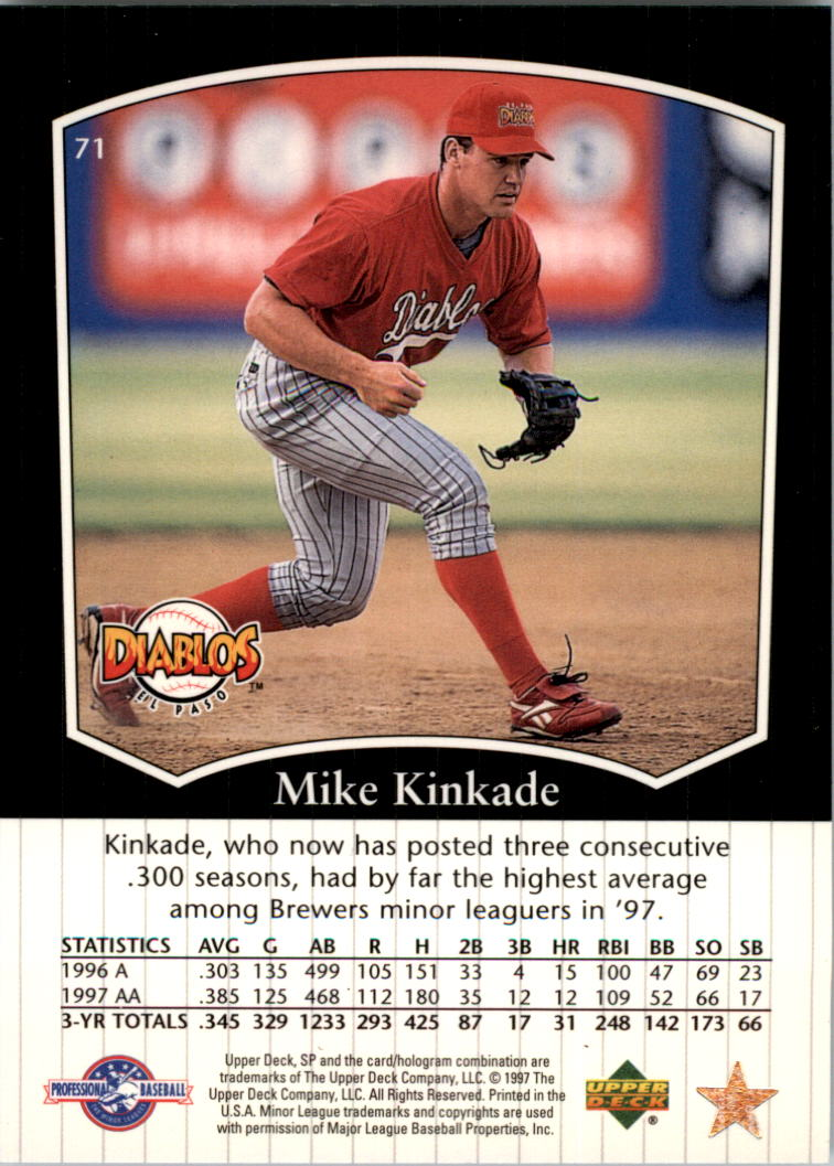 1998 SP Top Prospects #71 Mike Kinkade back image