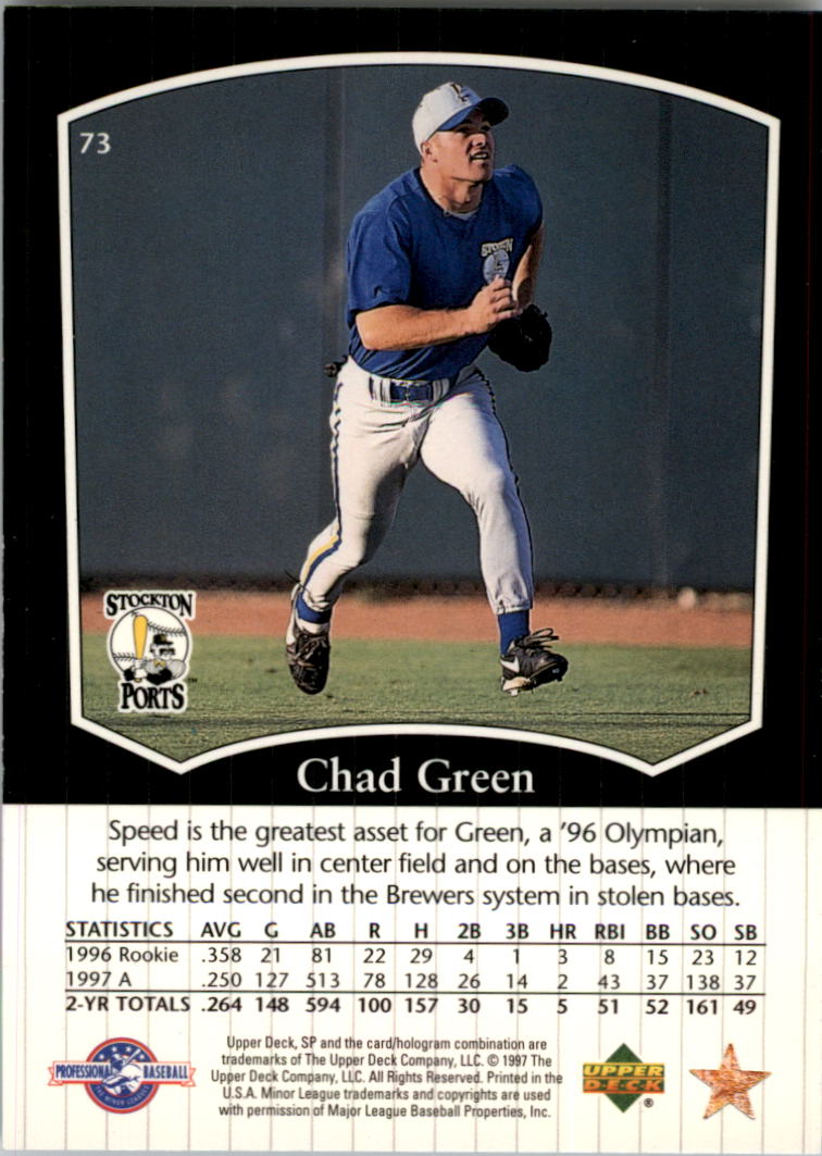 1998 SP Top Prospects #73 Chad Green back image