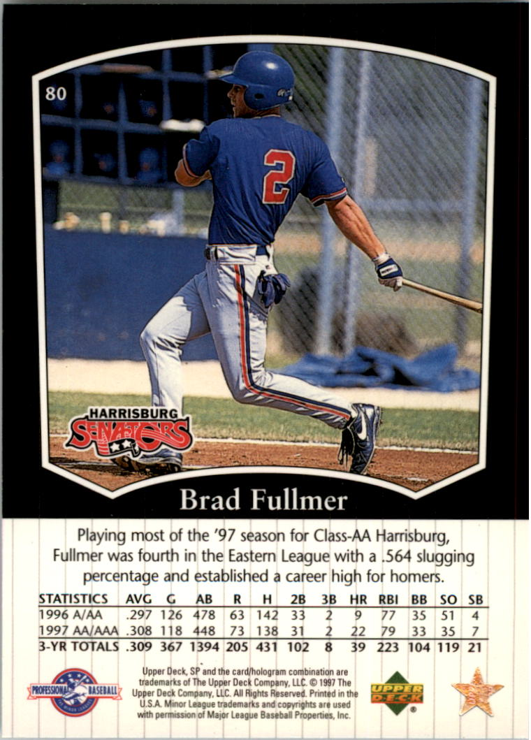 1998 SP Top Prospects #80 Brad Fullmer back image