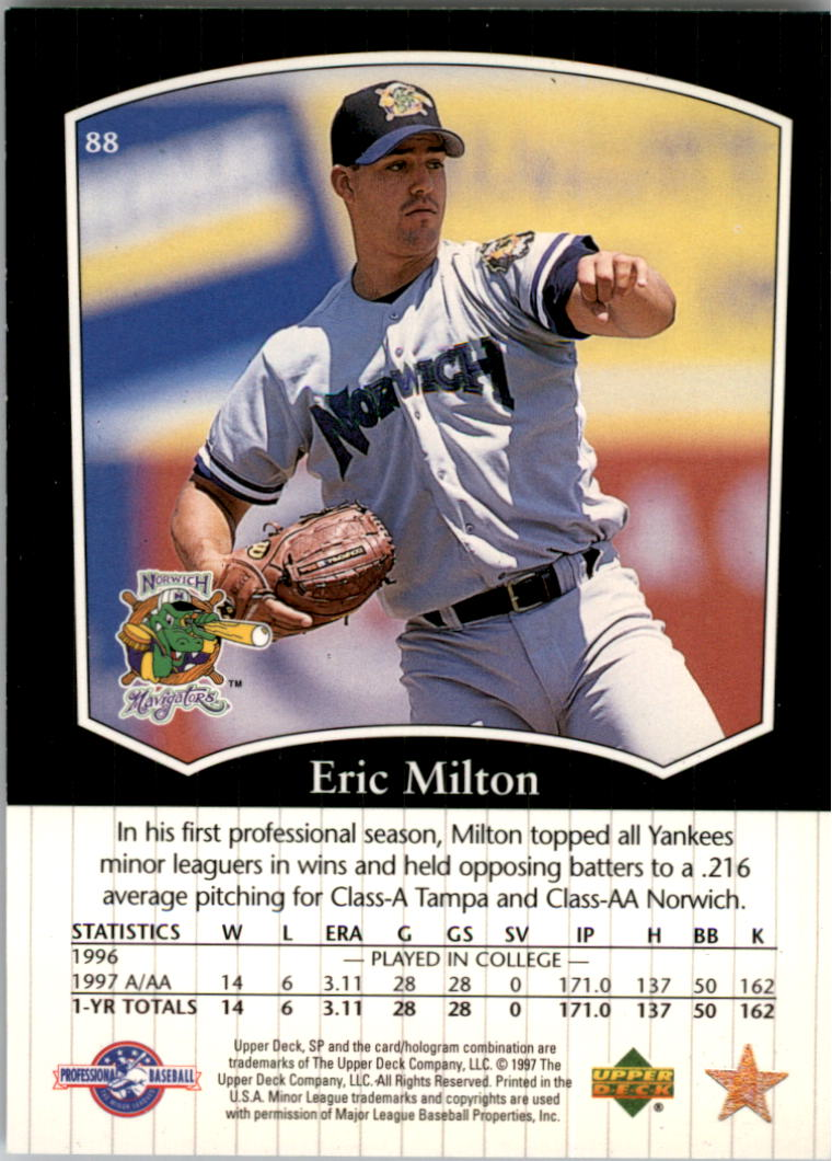 1998 SP Top Prospects #88 Eric Milton back image