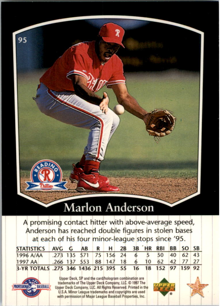 1998 SP Top Prospects #95 Marlon Anderson back image