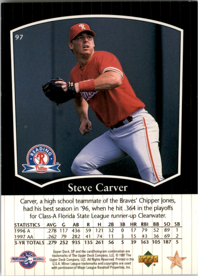 1998 SP Top Prospects #97 Steve Carver back image